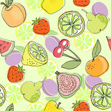 Seamless color fruit pattern hand drawn. vector illustration Stock Photography