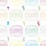Seamless color hamburgers on white. Seamless texture with color contours of hamburgers and curves stock illustration