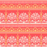 Seamless color lace pattern. Seamless color lace pattern, flower vintage vector background. Old lacy borders Stock Image