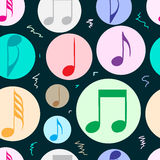 Seamless color notes in circles. Seamless texture with color music notes in circles Stock Photo