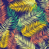 Seamless color palm leaves pattern. Flat style Royalty Free Stock Photo