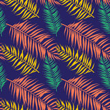 Seamless color palm leaves pattern. Flat style Royalty Free Stock Photos