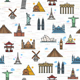 Seamless color pattern of the attractions of the world. Outline drawing for your application. The most famous place for travel Royalty Free Stock Photography