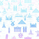 Seamless color pattern of the attractions of the world Stock Photography