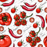 Seamless color pattern with cherry tomatoes, chili pepper and tomatoes Royalty Free Stock Image