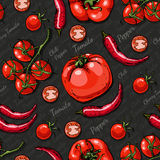 Seamless color pattern with cherry tomatoes, chili pepper and tomatoes Royalty Free Stock Images