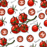 Seamless color pattern with cherry tomatoes Stock Image