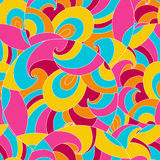 Seamless color pattern with circles and swirls. Royalty Free Stock Images