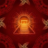 Seamless color pattern from decorative elements based on motives of art Native American Indian. Image of the Mexican pyramid. Vector illustration Royalty Free Stock Images