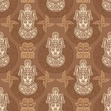 Seamless color pattern from decorative elements based on motives of art Native American Indian. Stock Image