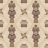 Seamless color pattern from decorative elements based on motives of art Native American Indian. Stock Photo