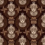 Seamless color pattern from decorative elements based on motives of art Native American Indian. Royalty Free Stock Images