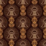 Seamless color pattern from decorative elements based on motives of art Native American Indian. Stock Photos