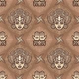 Seamless color pattern from decorative elements based on motives of art Native American Indian. Royalty Free Stock Photos