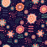 Seamless color pattern with flowers. For textiles, interior design, for book design, website background Stock Photo