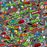 Seamless color pattern on a football theme on a gray background. Football attributes, football players of different teams, balls,. Stadiums. The style of Stock Images