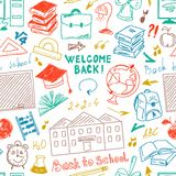 Seamless color pattern freehand drawing of school supplies. On white background Stock Images