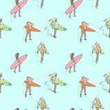 Seamless color pattern with girls with surf boards walking along the beach. stock illustration