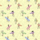Seamless color pattern with girls with surf boards walking along the beach. Stock Photo