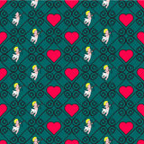 Seamless color pattern with hearts. Seamless geometric pattern with hearts. Vector repeating texture Royalty Free Stock Image