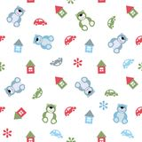 Seamless color pattern houses, cars, teddy bears. Vector seamless color pattern houses, cars, teddy bears Stock Photos