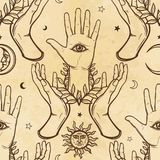 Seamless color pattern: human hands support a palm with an all-seeing eye. Esoteric, mysticism, occultism. A background - imitation of old paper, the book vector illustration
