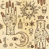 Seamless color pattern: human hands in tattoos, alchemical symbols. Esoteric, mysticism, occultism. A background - imitation of old paper, the book, parchment Royalty Free Stock Photography