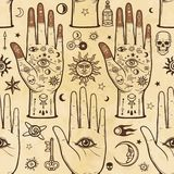 Seamless color pattern: human hands in tattoos, alchemical symbols. Esoteric, mysticism, occultism. A background - imitation of old paper, the book, parchment Royalty Free Stock Photo