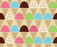 Seamless color pattern of Ice Cream Background. Ice cream waffle cones seamless pattern background in cartoon style for food design Stock Photo