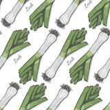 Seamless color pattern with leek Royalty Free Stock Photo