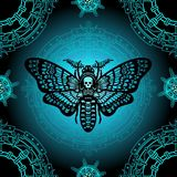 Seamless color pattern: moth Dead Head, mystical circle. Stock Photo