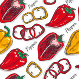 Seamless color pattern with pepper Stock Image