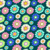 Seamless color pattern with plenty of flowers Stock Images