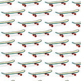 Seamless color pattern with skateboards. Pattern with skateboards for prints, fabric, stickers. Wallpaper with a pattern Stock Photography