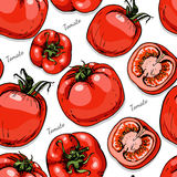 Seamless color pattern with tomatoes Stock Photo