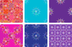 Seamless color pattern vector background set. Vector illustration Royalty Free Stock Images