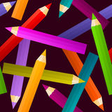 Seamless color pencils. Seamless colorful pencils on dark background Royalty Free Stock Photo