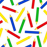 Seamless color pencils pattern. On the white. Vector background Stock Photography