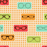 Seamless color retro pattern with glasses. For textiles, interior design, for book design, website background Stock Image
