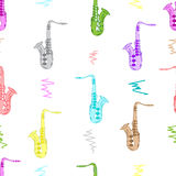 Seamless color saxophones Stock Photos