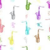 Seamless color saxophones Stock Photos