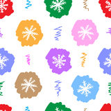Seamless color snowflakes on the white Royalty Free Stock Image