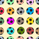 Seamless color soccer balls Stock Photo
