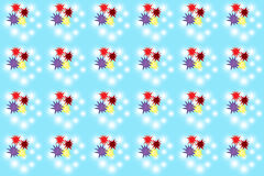 Seamless color splats pattern on blue Stock Photo