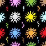 Seamless color sun on the black. Seamless texture with the color sun with beams Stock Photography