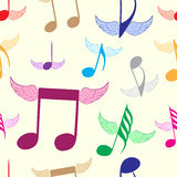 Seamless color winged notes Royalty Free Stock Image