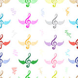 Seamless color winged treble clefs Royalty Free Stock Photography