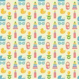 Seamless Colored Baby Items Pattern Royalty Free Stock Images