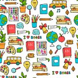 Seamless colored back to school pattern with supplies stationary and creative elements. Colorful fun cute vector line royalty free illustration