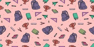 Seamless colored back to school pattern with supplies stationary and creative elements doodle drawing. Colorful fun cute vector